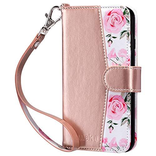 ULAK iPhone 6/6s Hülle, Premium Lederhülle Flip Cover Tasche Brieftasche Schutzhülle Magnet Handyhülle Standfunktion mit Kartenfächer case Kompatibel für iPhone 6/iPhone 6s - Neues Rose Gold