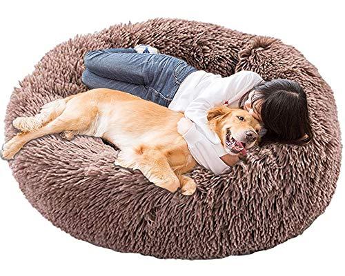 HANHAN Extra Large Calming Dog Bed Orthopedic Donut xxl Cosy Cave xl Comfy Pet Sofa Wicker Medium Jumbo Plush Cushion Sleep Basket Anxiety Washable Mattress brown