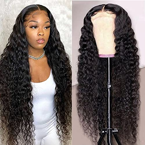 Blomas T-part Lace Front Wigs Human Hair Middle Part Long Deep Wave Human Hair Wigs for Black Women Brazilian Virgin Human Hair Lace Frontal Wig Natural Color (30 Inch)