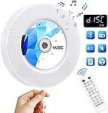 Gueray Reproductor Portátil de CD Bluetooth con Control Remoto Radio FM Altavoces incorporados Conector de Auriculares Salida de Entrada USB/AUX incorporada (Blanco 02)