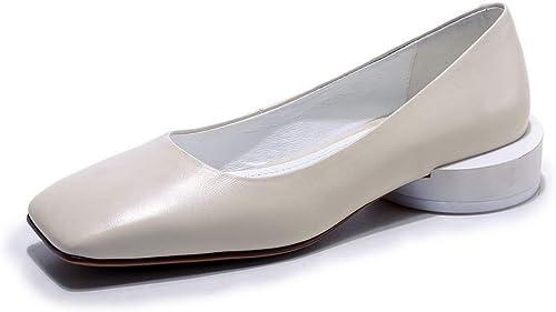 AN DGU00935 zapatos de tacón de Piel de Vaca con Forma de Cono para mujer