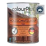 colourPlus® Holzschutzlasur (750ml, Teak) seidenglänzende Holzlasur Außen- Holz Grundierung -...