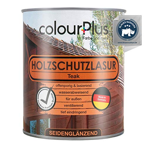 colourPlus Wood Protection Varnish (750ml, Teak) Satin Gloss Treatment for Exterior use - Wood Undercoat - Outdoor Wood Preserver - Made in Germany