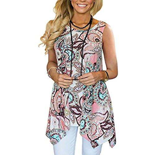 VEMOW Sommer Cool Elegant Damen Mädchen Frauen Casual Täglichen Party Im Freien Unregelmäßige Gedruckt Sleeveless Asymmetrische Lose Tunika Bluse Tops Pullover Pulli Tees(Rosa, 48 DE/XXL CN)