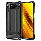 Coolden für Xiaomi Poco X3 NFC Hülle, [Armor Serie] Outdoor Stoßfest Schutzhülle Hülle Tough Silikon TPU + PC Bumper Cover Doppelschichter Handyhülle für Xiaomi Poco X3 NFC (Schwarz)