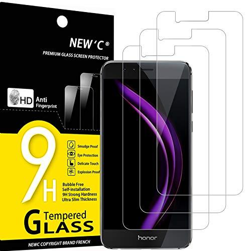 NEW'C 3 Stück, Schutzfolie Panzerglas für Honor 8, Frei von Kratzern, 9H Härte, HD Displayschutzfolie, 0.33mm Ultra-klar, Ultrabeständig