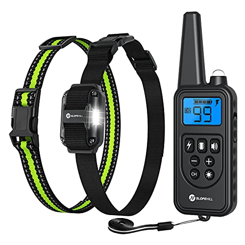 Slopehill Dog Training Collar, Waterproof Dog Shock Collar with Remote, Rechargeable Dog Collar with...