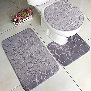 Clearance Sale!DEESEE(TM)????????Flower Solid 3pcs Non-Slip Suction Grip Bath Mat Bathroom Kitchen Carpet Doormats Decor (D)