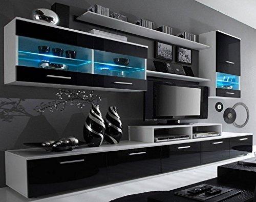SelectionHome - Mueble salon Comedor Moderno, Acabado en Blanco Mate y Negro Brillo Lacado, Medidas: 250x194x42 cm de Fondo
