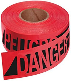Empire Level - Safety Barricade Tapes Reinforced Danger/Peligobarr Tape-Rd W/Blk Prnt: 272-76-0604 - reinforced danger/peligobarr tape-rd w/blk prnt