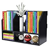 COOGOU Desktop Bookshelf Wood Desk Organizer Shelf Bookcase with 5 Compartments Storage Shelves for Tabletop Books Holder Stand A4 A5 Paper File Mail Sorter Decor Display Rack in Home Office,Black