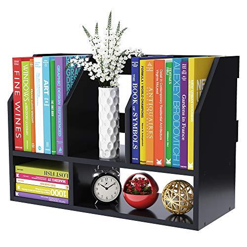 COOGOU Desktop Bookshelf Wood Desk Organizer Shelf Bookcase with 5 Compartments Storage Shelves for Tabletop Books Holder Stand A4 A5 Paper File Mail Sorter Decor Display Rack in Home Office,Black