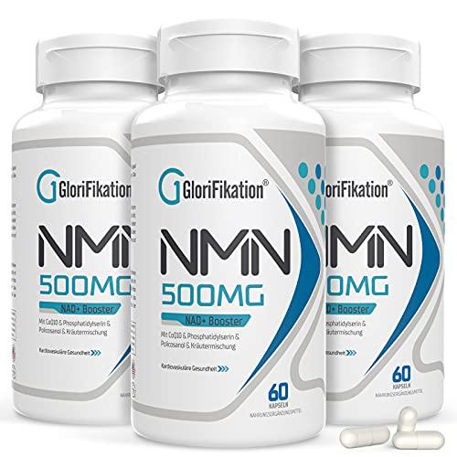 NMN Supplement | 750mg Advanced NMN Enthält alle 7 Inhaltsstoffe in 1 Kapseln | NMN 500mg mit 100mg Coenzym Q10 zur Unterstützung der Allgemeinen Gesundheit NAD + Booster für Anti-Aging | 180 Kapseln