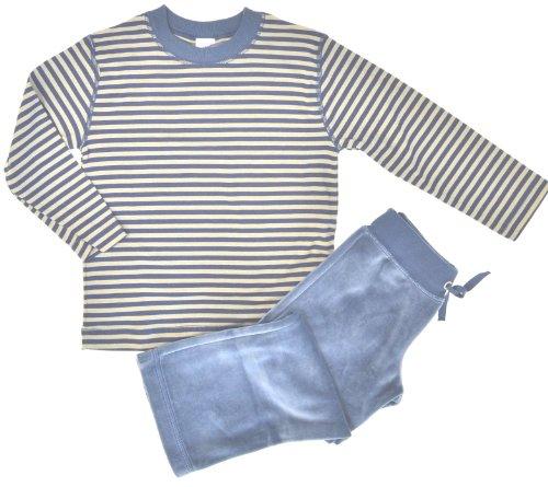 Petit Bateau Pyjama Baumwolle mit Nickyhose Gr. 4 A - 104 - Schlafanzug 62813 Oliv-blau für Jungen