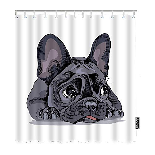Moslion Shower Curtain French Bulldog Watercolor Puppy Little Cute Adorable Animal Lovely Pet FunnyShowerCurtain Gift for Bathroom Decoration Polyester 60Wx72H Inch