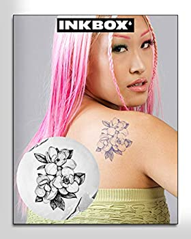 Inkbox Temporary Tattoo Long Lasting Temporary Tattoos Includes One Premium ForNow Ink Waterproof Tattoo Lasts 1-2 Weeks Flower Tattoo Magnol 4x4in