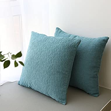 Kevin Textile Solid Spring Velvet Decoration Toss Throw Pillow Case Cushion Cover Comfortable Pillow Cover Soft Striped Decorative Pillowcase for Bed/Chair/Couch, 18 x18 (45cm),2 pcs,Niagara Blue