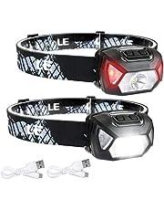 LE USB oplaadbare koplamp, 1300 lux LED XPG LED-koplamp D500 met 6 lichtmodi koplampen en rood licht, licht en super helder, ideaal voor wandelen, kamperen, excursies. USB-kabel inbegrepen