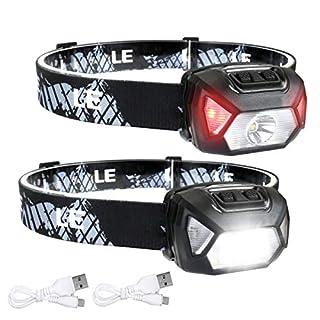 scheda le torcia led frontale d500 (2 pezzi), lampada da testa usb ricaricabile torcia led, 6 modalità di luce, ipx6 impermeabile, per campeggio, corsa, jogging, pesca