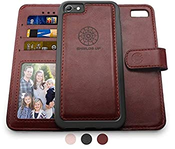 Shields Up iPhone SE 2020 Case,iPhone 8 Wallet Case iPhone 7 Wallet Case Durable and Slim Card/Cash Slots Wrist Strap [Vegan Leather] Cover for Apple iPhone 8/7 SE2  Brown
