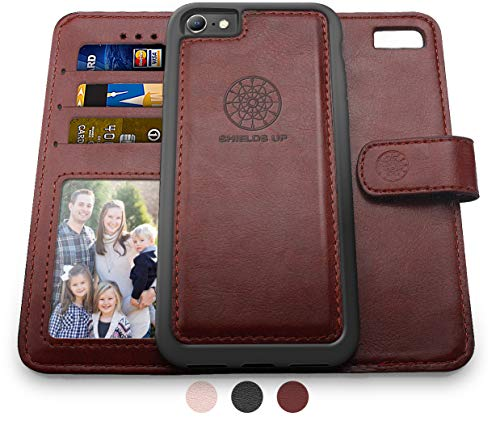 Shields Up iPhone SE 2020 Case,iPhone 8 Wallet Case, iPhone 7 Wallet Case, Durable and Slim, Card/Cash Slots, Wrist Strap, [Vegan Leather] Cover for Apple iPhone 8/7 SE2 (Brown)