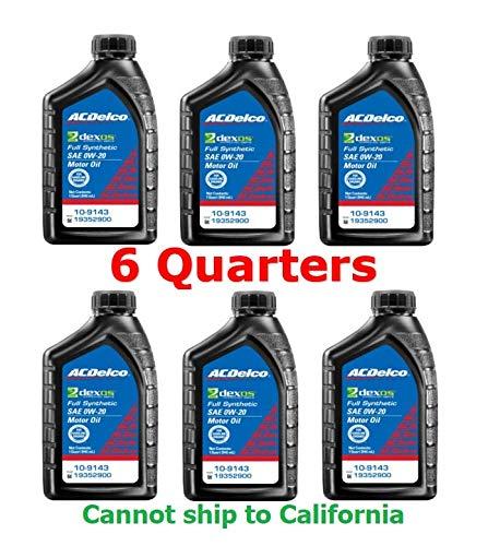 ACDelco 109143 SAE 0W-20 dexos 1 Gen 2 Full Synthetic Motor Oil 1 Quart