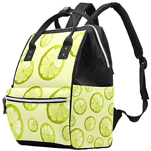 Fresh Green Lemon Travel Rucksack Casual Daypack Maternity Nappy Bag Organizer Nursing Bottle Bag