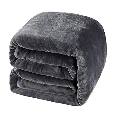 Balichun Luxury 330 GSM Fleece Blanket Super Soft Warm Fuzzy Lightweight Bed or Couch Blanket Twin/Queen/King Size(Queen,Dark Grey)