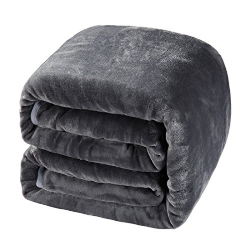 """BALICHUN Soft Fleece Queen Blanket Winter Warm Brushed Flannel Blankets All Season Lightweight Thermal Throw for Bed, Sofa or Couch Dark Grey 90"""" 90"""""""