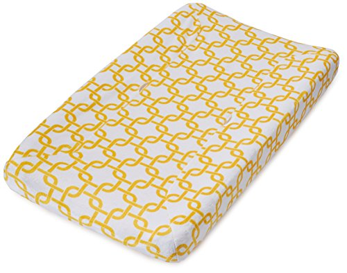 TL Care Heavenly Soft Chenille Fitted Contoured Changing Pad Cover, Golden Yellow Twill Gotcha, for Boys and Girls