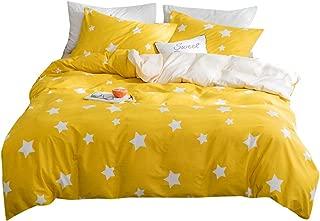 OTOB Cotton Cartoon Star Queen/Full Duvet Cover Bed Set Girls Boys, Kids Teen Bedding Sets Full Size 3 Piece for Toddler Princess Women, Reversible Print (1 Comforter Cover 2 Pillowcase), Yellow