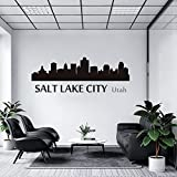 Promini City Silhouettes of United States of America Salt Lake City Utah City Skyline Silhouette Cityscape Wall Decal Sticker, Nursery Wall Decals/Laptop Sticker/Car Window Sticker