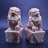 HYBUKDP Estatuas Las estatuas grandes de Beijing leones Par Fu Foo Dogs (un par), Piedra china Feng Shui Decoración prosperidad Accesorios Figura, Hogar y oficina Sculpture Garden, H20cm / 7.9in Escul