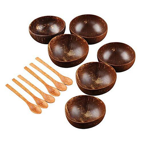 Timagebreze Kokosnuss Schale Set Hand Gemachtes Kokosnuss Schale Geschirr Holz L?Ffel Dessert Obst Salat RüHr SchüSsel Reis Ramen Schale 12 StüCke