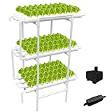 WEPLANT Hydroponic Growing System NFT with Timer Control, PVC Pipe 108 Planting Hole, Garden Water Culture Plant Salad Vegetable with Timer, Square Net Pot, Sponge