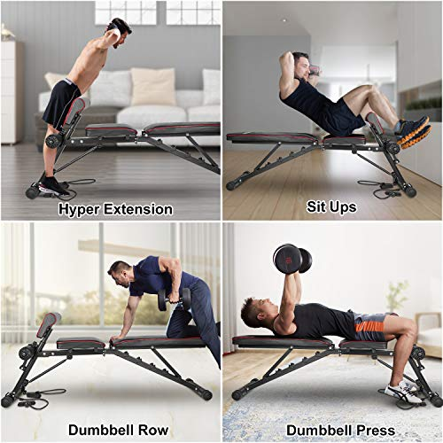 """Product Image 7: Bigzzia Weight Bench 61"""", Adjustable Strength Training Bench for Full Body Workout-Hyper Back Extension, Roman Chair, Incline Decline Bench, Dumbbells Bench with Widen Seat"""