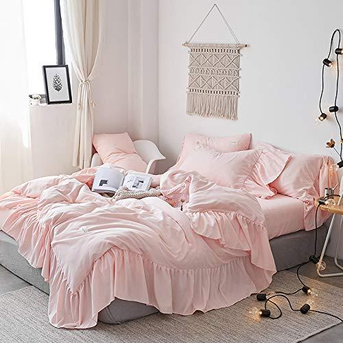 LDDPP Juego de ropa de cama de 4 piezas, diseño de princesa, estilo Mermaid Lace, ropa de cama de color liso, con volantes, colcha de color blanco, estilo Shabby Chic Farmhouse Style Lightweight