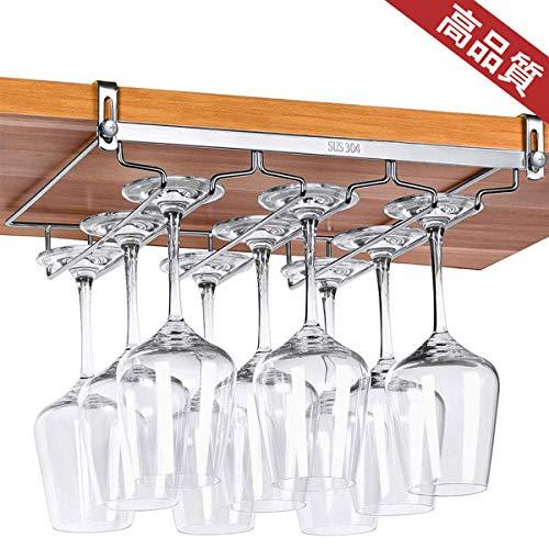 AZAKBL ワイングラスホルダー 棚厚さ調節可能 穴あけ不要 簡単に取り付けでき ステンレス製 ワインホルダー 吊り下げ 3レーン ロングタイプ (3列・奥行27cm)