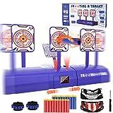 Electronic Shooting Target for Nerf Gun, Kids Shooting Target Practice Boys Girls Scoring Auto Reset Digital Targets with 20 Pcs Bullets Darts, 2 Face Masks and 2 Hand Wrist Bands