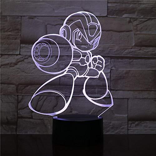 KINGBENG Rockman Abbildung Tischlampe Nachttischlampe Multicolor RGB Dekorative Lampe Junge Kind Kind Baby Geschenk Spiel Megaman 16 farben Nachtlicht 3D Licht Illusion Nachtlicht Visuelles Licht Kuns