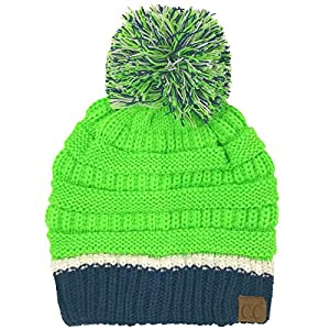 CC Football Basketball Team Colors Pom Winter Chunky Stretchy Knit Beanie Hat