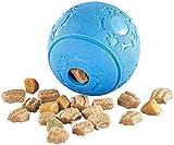 Sweetypet Giocattolo per Cani: Palla da Gioco per Cani in Gomma Naturale, con distributore di Snack, Ø 8 cm, Blu (Palla per Cani)