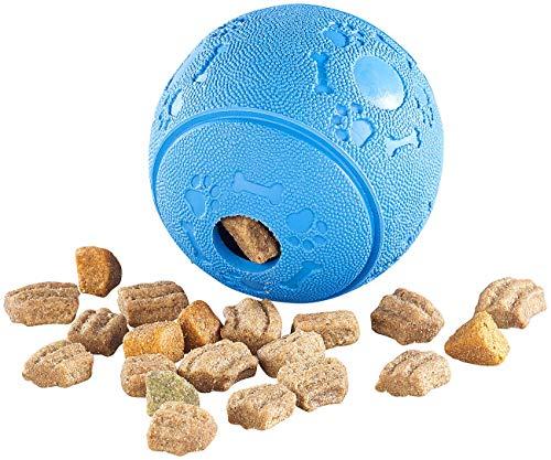 Sweetypet Katzenspielzeug: Hunde-Spielball aus Naturkautschuk, mit Snack-Ausgabe, Ø 8 cm, blau (Hundeball)