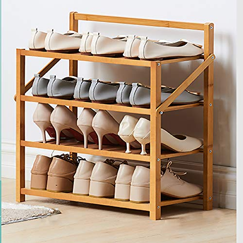 4 Niveles De Rack De Zapatos De Bambú,Plegable Gran Capacidad Estante Zapatero,Organizador Portátil De Zapateros Estante De Torre De 12 Pares,Para Entryway Closet-Color de madera 50x23.8x60cm(20x9x24i