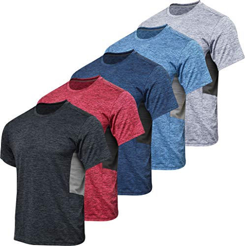 Men's Quick Dry Fit Dri-Fit Short Sleeve Active Wear Training Athletic Essentials Crew T-Shirt Fitness Gym Wicking Tee Workout Casual Sports Running Undershirt Top - 5 Pack,Set 6-XXL