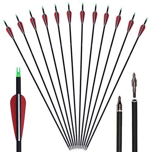 Huntingdoor 30' Archery Carbon Target Arrows Hunting Arrows with Adjustable Nock and Replaceable Field Points for Compound Bow or Recurve Bow (12 Pack)