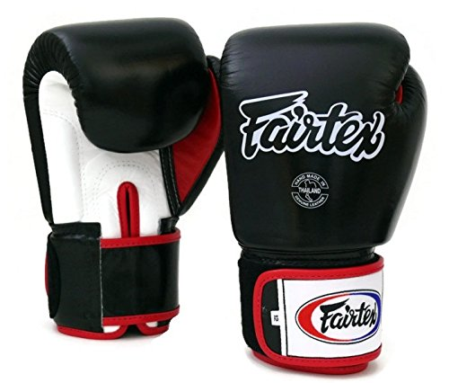 Fairtex Muay Thai Boxing Gloves BGV1 Black White Red Size 10 12 14 16 oz Training Sparring All Purpose Gloves for Kick Boxing MMA K1 Tight Fit Design BlackWhiteRed 16 oz