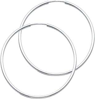 14k White Gold 1.5mm Thickness Endless Hoop Earrings (40 x 40 mm)
