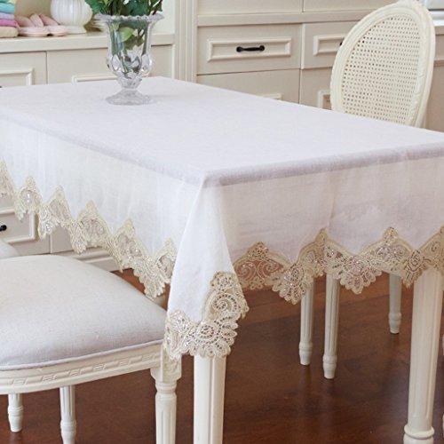 Nappes Nappe Rectangulaire en Lin Blanc Riz Pur - Table Basse Cuisine Linge de Toilette Terrasse (oblong -150 * 230 Cm) (taille : Rectangular -150 * 230cm)