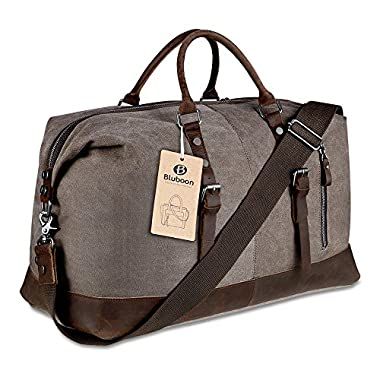 Canvas Overnight Bag Travel Duffel Genuine Leather for Men and Women Weekender Tote (Coffee)